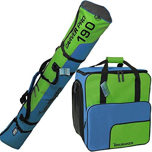 BRUBAKER Sac à chaussures de ski 'Super Function 2.0' et Housse à skis 'Carver Pro 2.0' pour 1 Paire de skis + Bâtons + Chaussures + Casque - 190 cm - Bleu / Vert