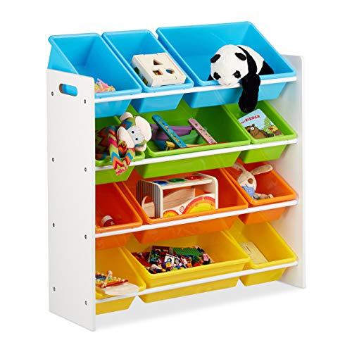 Relaxdays Scaffale per Bambini con Box Porta-Giochi, Contenitori Colorati per Giocattoli, Legno MDF, Multicolore, 88x86x31 cm