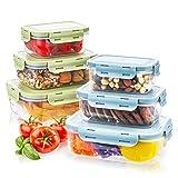 Haipei Boîte Alimentaire Bacs Conteneurs Empilables avec Couvercles Hermétiques Lot de 6 pièces, Boite Conservation sans BPA, Compatible avec Micro-Ondes, Lave-Vaisselle, Congélateur