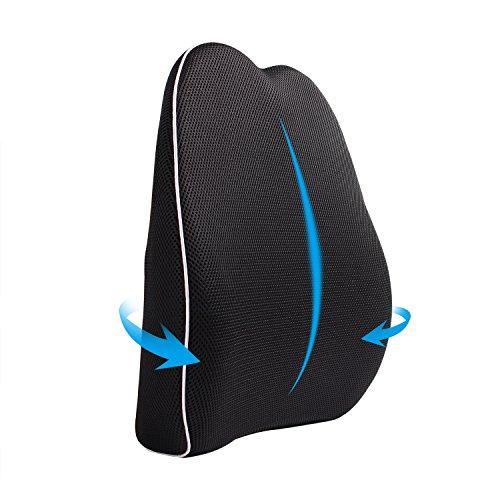 MonTrüe Orthopädisches Rückenkissen aus Memoryschaum | Ergonomisches Lendenkissen Rückenstütze zur Schmerzlinderung im unteren Rücken | Ideales Lendenwirbelsäule-Stützkissen für bessere Körperunghaltung für Zuhause, Büro usw.