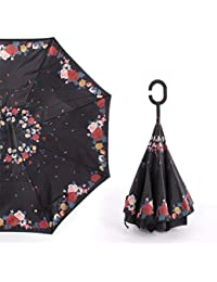 qianqian QIAN Paraguas Invertido Plegable a Prueba de Viento Doble con Mango C Paraguas Invertido Autosoportado