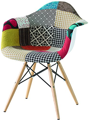 Fashion commerce daw patchwork poltroncina, cotone/polipropilene, multicolore, 61x59x80 cm
