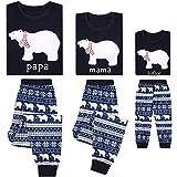 Conjunto de Pijamas Familia Navidad Niño Mujer Hombre Ropa de Dormir Algodón Pijamas Manga Larga 2 piezas Xmas Disfraz Papá Mamá Pyjamas Sets, Azul Oscuro
