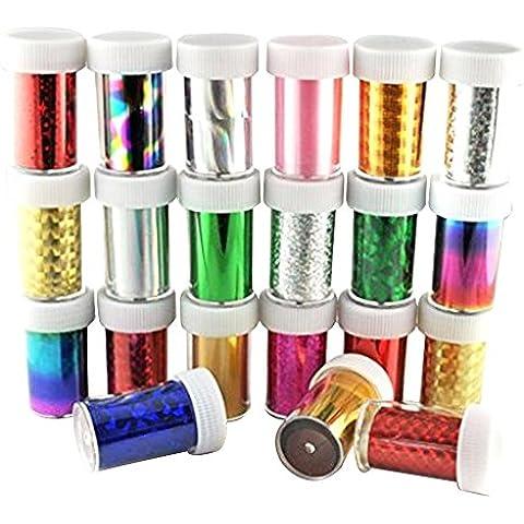 Contever® 30 Rollos Mixta Color Pegatinas Uñas Transferencia Nail Tips Glitters Acrylic DIY Decoración Uñas Arte Manicura