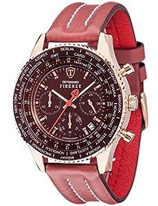 Detomaso Firenze - Reloj de cuarzo para hombres, con correa de cuero de color rojo, esfera roja de DETOMASO