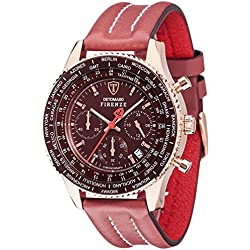 Detomaso Firenze Men's Quartz Watch with Rose Gold/Marsala Forza Di Vita Chronograph Quartz Leather SL1624 °C RM