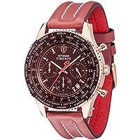 Detomaso SL1624C-RM Orologio da Polso, Cronografo da Uomo, Cinturino in Pelle, Colore Rosso