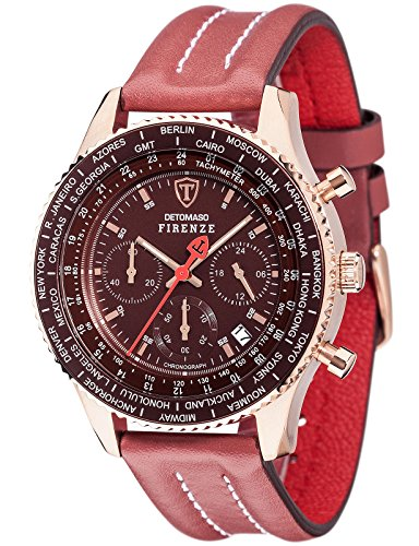 Detomaso Firenze Men's Quartz Watch with Rose Gold/Marsala Forza Di Vita Chronograph Quartz Leather SL1624°C RM