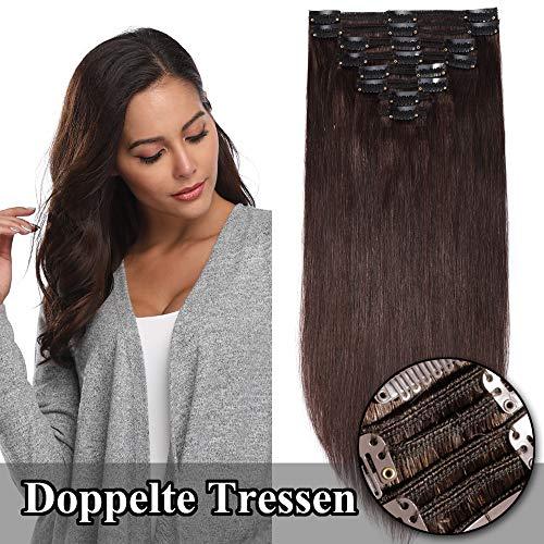 TESS Clip in Extensions Echthaar guenstig Haarverlängerung Doppelt Tressen für komplette Haarextension 8 Teile 18 Clips Glatt 7A Dick Hair (60cm-170g, 2 Dunkelbraun)