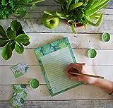 Bloc-notes vert avec feuillages, notes book, carnet, to do list