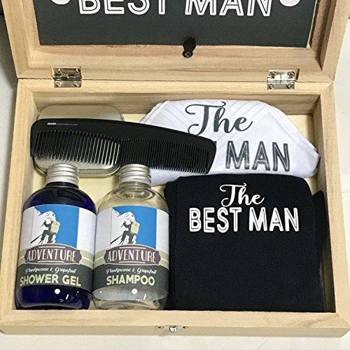 Best Man Holz-Geschenkbox gefüllt mit Socken, Einstecktuch, Duschgel, Shampoo, Münzen, Pocket-Kamm Hochzeits-Geschenkset, Will You Be My Best Man, Trauzeuge