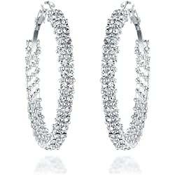 Gemini orecchini da donna a cerchio placcati argento con cristalli Swarovski Gm008 3.8cm
