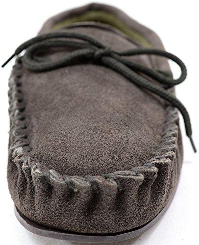 Herrenmokassin/Slipper aus traditionell echtem Wildleder mit Gummisohle Braun