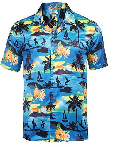 ihemd Urlaub Hemd Strandhemd Freizeithemd Hawaii-Print Mit Kurzarm, Typ1-PAT2, XXL ()