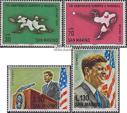 Prophila Collection San Marino 824-825,827-828 (kompl.Ausg.) 1964 Baseball EM, Kennedy (Briefmarken für Sammler) Prominente / Film / Theater -