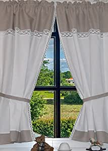 landhaus gardinen set 100 leinen 2 st 2. Black Bedroom Furniture Sets. Home Design Ideas