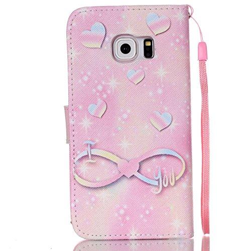 Meet de Samsung Galaxy S6 Edge Bookstyle Étui Housse étui coque Case Cover smart flip cuir Case à rabat pour Galaxy S6 Edge Coque de protection Portefeuille - this iphone is locked slide to unloke Rose illimité