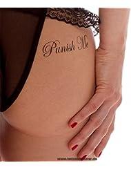 "5 x ""Punish Me"" / ""Fuck Me"" lettrage de tatouage en noir - Sexy Kinky Tattoo (5)"