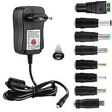EFISH Adattatore Multifunzionale per Alimentazione DC Universale (USB incluso),Adattatore CA da 100-240 V a 3V/4.5V/5V/6V/7.5V/9V/12V-MAX 2A(2000 mA),Adattatore da Viaggio CE/GS+8 Spine Diverse