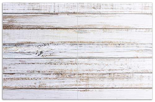 Alter Herd (Wallario Herdabdeckplatte/Spritzschutz aus Glas, 2-teilig, 80x52cm, für Ceran- und Induktionsherde, Motiv Helle Holzstruktur - Muster - Alter Dielenfußboden)