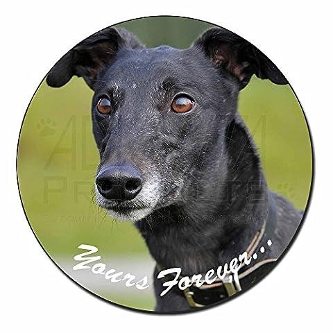 Black Greyhound 'Yours Forever' Fridge Magnet Stocking Filler Christmas