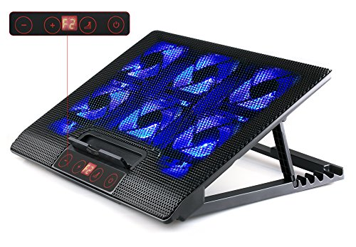 SKGAMES Notebook Laptop Kühler Gamer Ständer Unterlage für 10 - 17 Zoll, 6 x LED Lüfter, LCD Lüftersteuerung, 7 Stufen Höhenverstellung, Schwarz
