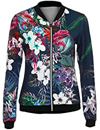 FEITONG Womens Ladies Biker Celeb Camo FLoral Print Coat Zipper Up Bomber Jacket Outwear