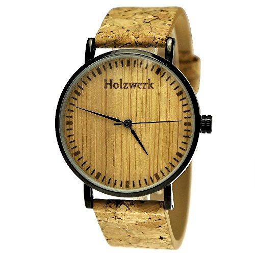 Handgefertigte Flache Holzwerk Germany Designer Unisex Herren-Uhr Damen-Uhr Öko Natur Vegan Holz-Uhr Armband-Uhr Analog Klassisch Quarz-Uhr mit Kork Armband und Holz Ziffernblatt Schwarz