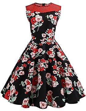 ♪ZEZKT♪Elegant Rockabilly Kleid Damen Knielang A-Linie mit Blumendruck V-Ausschnitt 50s Retro Vintage Faltenrock...