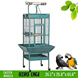 Yaheetech Bird Breeding Cage Pet Supply Metal African Grey Parrots Cockatiels Sun Parakeets Conure Lovebirds Budgies Finches Play Top Bird Cages with Perch Stand and Wheels (Green)