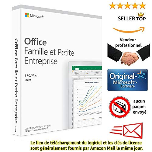 Microsoft Office Famille et Petite Entreprise 2019 | MAC [1 périphérique / version perpétuelle] | Envoi électronique le jour même | Aucun envoi de CD / DVD