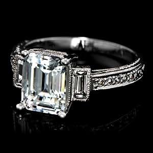 Little Treasures Sterling Silver Emerald Cut CZ Vintage Engagement Ring