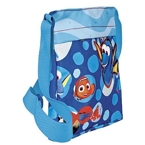 PERLETTI Messenger Bag Findet Dorie für Kinder - Disney Pixar Finding Dory Flache Umhängetasche - Blau - 21x18x4 cm