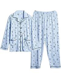 80ba710bb0 Zybnb Pijama De Algodón De Manga Larga para Hombres para Jóvenes De Algodón  Coreano para Hombres