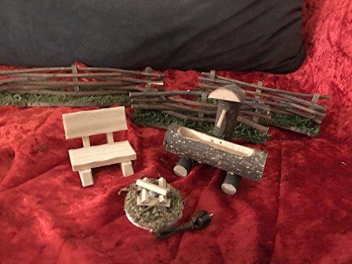 miniaturentraum Accesorios para belén, Juego de Fuegos, 3,5 V, Fuente, 3 Vallas y Banco para Figuras de tamaño de 10 - 14 cm