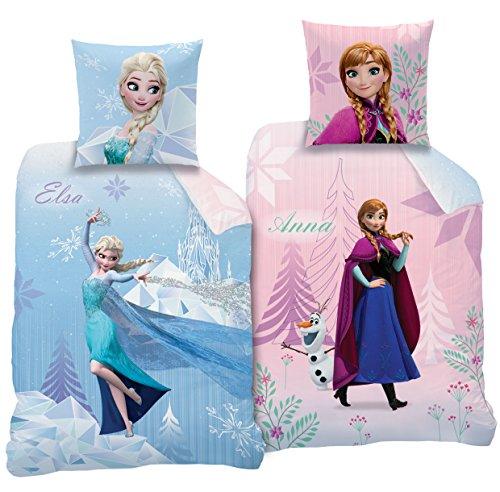 Rosa Set Bettwäsche Mädchen (CTI Wende Bettwäsche Set Disney`s Eiskönigin 135x200cm + 80x80cm Linon 2 Motive