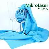 Aktiv Kristall - das Mikrofasertuch für kostbares Glas - trocknen, reinigen, polieren [50x70 cm, Blau]