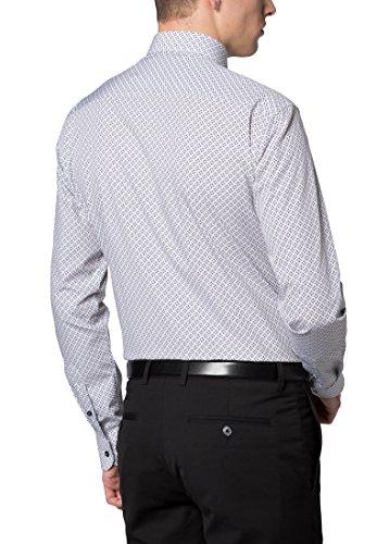 Eterna Long Sleeve Shirt Slim Fit Poplin Printed Nero/Bianco