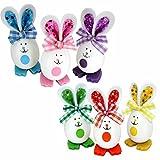 Set mit 6 Ostereier Hasen in lustigem Design als Osterdeko -