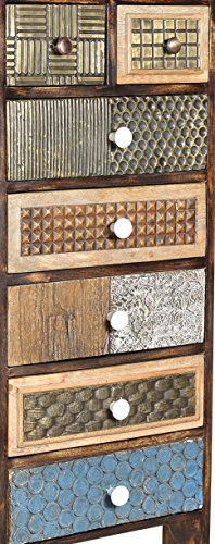 The Wood Times Kommode Schrank Massiv Vintage Look Kalkutta Mangoholz, FSC Zertifiziert, BxHxT 50x110x35 cm - 3