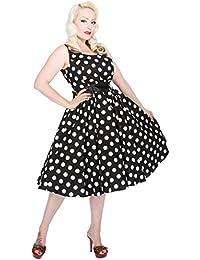 H&R Polka Dots 50s Punkte Vintage Dress / TRÄGERKLEID - Blk Rockabilly