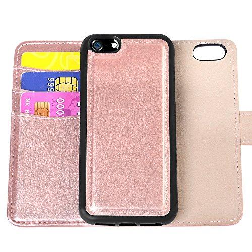 Kompatibel mit iPhone 5 Hülle, SAHNSHUI Kompatibel mit iPhone 5S SE Kunstleder 2-IN-1 herausnehmbare Handyhülle mit RFID Schutz für Kartenfächer, Magnetverschluss Rosa Gold