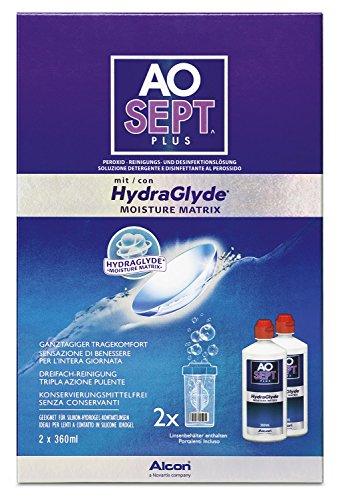 Aosept Plus mit Hydraglyde, Kontaktlinsen-Pflegemittel, Vorratspackung, 2 x 360 ml