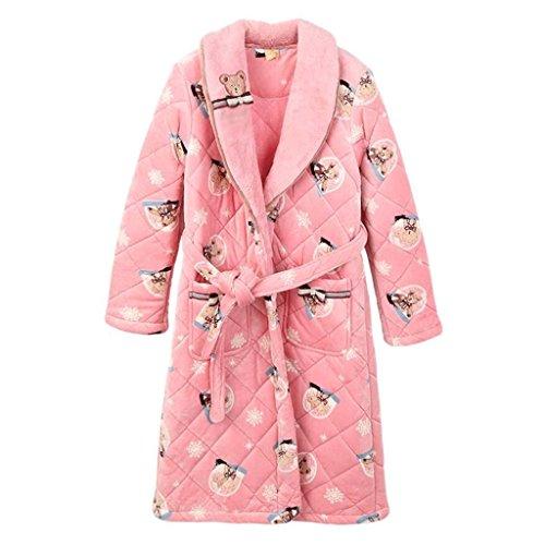Bademäntel GAOLILI Frau Herbst und Winter Saison Baumwolle Plus Lange Absatz Robe Cartoon warme Frau Sweet Home Kleidung (Farbe : Bunte, größe : S)