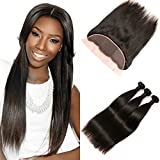 DAIMER Peruvian Straight Virgin Hair Frontal Free Part 4x13 Top Lace Closure with Baby Hair Bleached Knots and 3 Bundles Virgin Hair Weft Natural Black 18 20 22 +16 Frontal