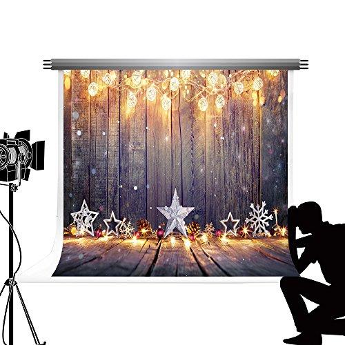 Kate Holz Boden Fotografie Hintergrund Bokeh Laternen fototermin Hintergrund X-Mas Dekoration für Studio Fotos 7x5ft/2.2x1.5m