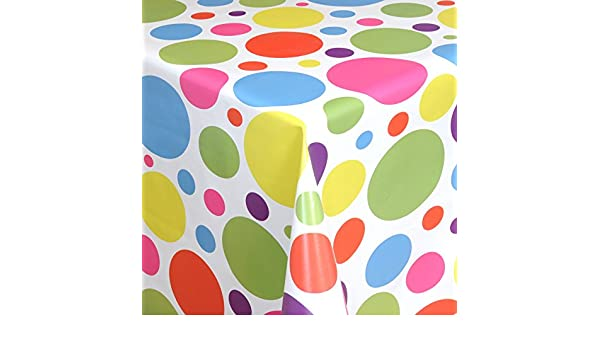 Wachstuch Tischdecke bunte Punkte auf weiss 06021-00 eckig rund oval
