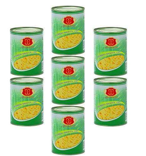 7x knackige Bambussprossen in Streifen a 567g Dose Asia Food Gemüse dauerhaft günstig bambus bamboo shoots 7x 567g