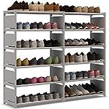 UDEA zapatero plegable Organizador de tela,Mueble Armario Zapatero de Zapatos , Doppia fila Zapatero 6 pisos con resistente al polvo Gris