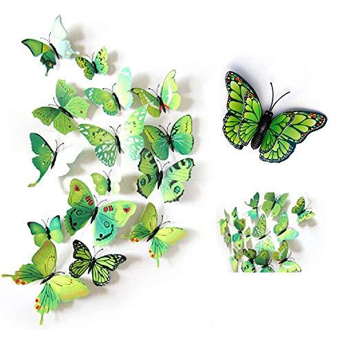24 Stück Wall Sticker, MOMDAD 3D Schmetterlinge Blumen Wandsticker Wandaufkleber Stickers für Türen Fenster - Bunt Grün